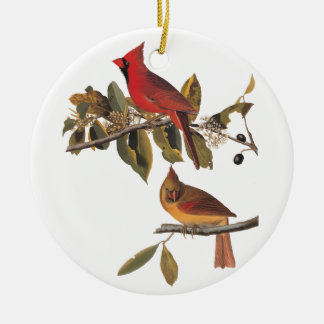 Cardinal Grosbeak Birds Vintage Audubon Bookplate Ceramic Ornament