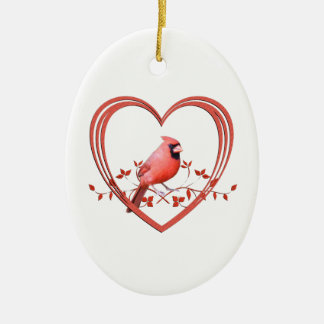 Cardinal in Heart Ceramic Ornament