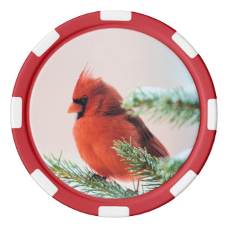 Cardinal in Snow Dusted Fir Tree Poker Chips Set