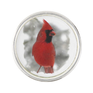 Cardinal in Snow Lapel Pin