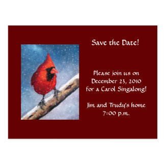 CARDINAL IN SNOW: OIL PASTEL ART: CHRISTMAS EVENT POSTCARD