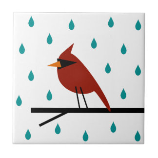 Cardinal in the Rain Tile