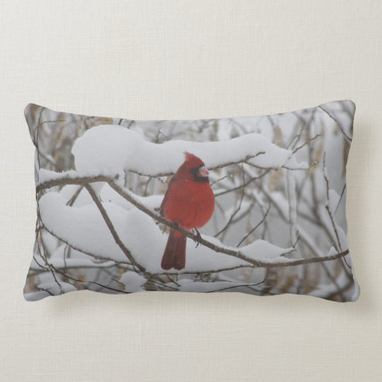 Cardinal in winter snow pillow
