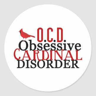 Cardinal Obsessed Funny Round Sticker