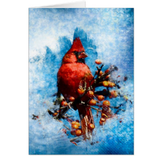 Cardinal on Berries Greeting Card