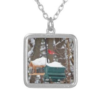 Cardinal on Birdfeeder Silver Plated Necklace