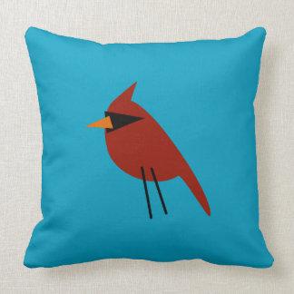 Cardinal on Blue Throw Pillow