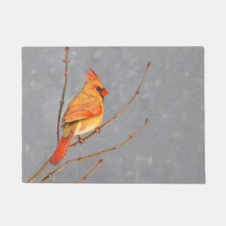 Cardinal on Branch Doormat
