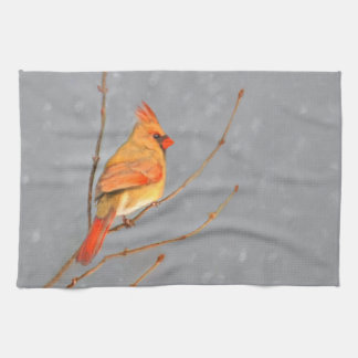 Cardinal on Branch Kitchen Towel