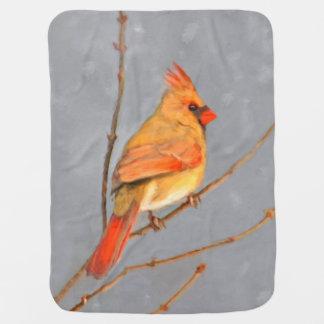 Cardinal on Branch Painting - Original Bird Art Baby Blanket