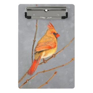 Cardinal on Branch Painting - Original Bird Art Mini Clipboard