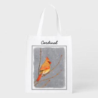 Cardinal on Branch Painting - Original Bird Art Reusable Grocery Bag