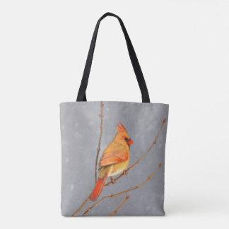 Cardinal on Branch Painting - Original Bird Art Tote Bag