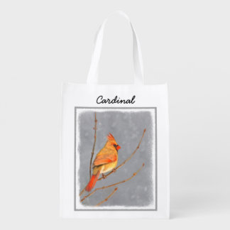 Cardinal on Branch Reusable Grocery Bag