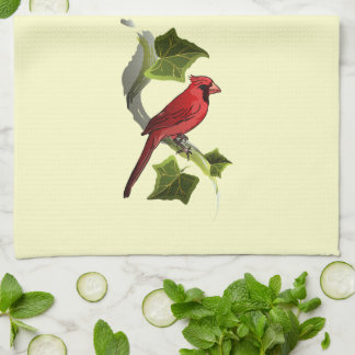Cardinal on Branch with Ivy Leaves Kitchen Towel