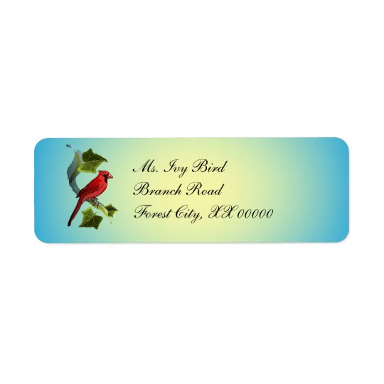 Cardinal on Branch with Ivy Leaves Return Address Label