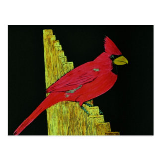 Cardinal on Fence Artwork Postcard