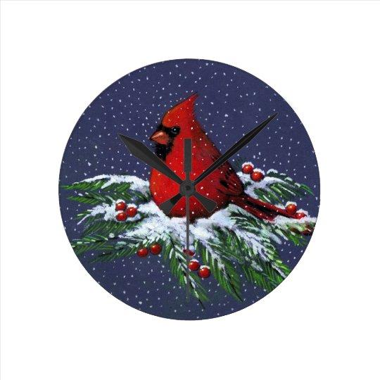 Cardinal on Snowy Pine Branch: Christmas: Artwork Wall Clocks