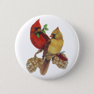 Cardinal Pair 2 Inch Round Button