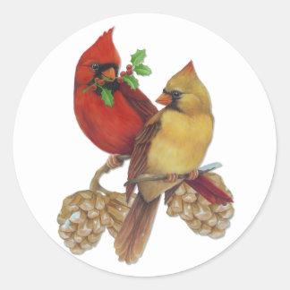 Cardinal Pair Classic Round Sticker
