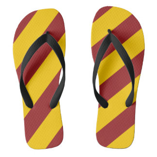 Cardinal Red and Gold Striped Flip Flops