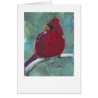 Cardinal Red Bird Painting Card