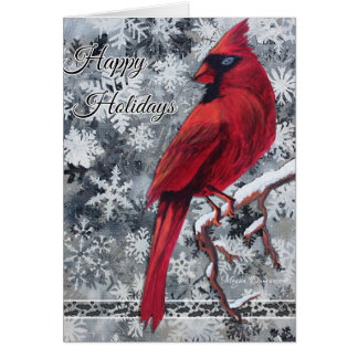 Cardinal Snow Flakes Happy Holidays Greeting Card
