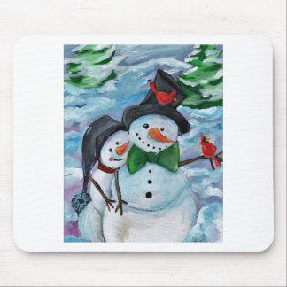 Cardinal visiting Snowmen Mouse Pad