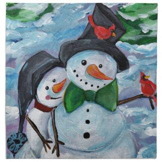 Cardinal visiting Snowmen Napkin