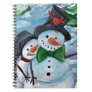 Cardinal visiting Snowmen Notebooks