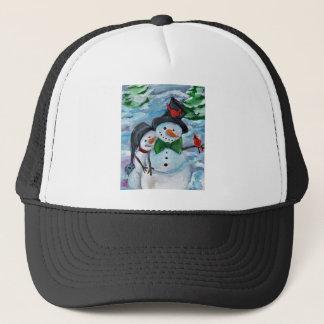 Cardinal visiting Snowmen Trucker Hat