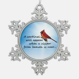 Cardinal, Visitor from Heaven Snowflake Pewter Christmas Ornament