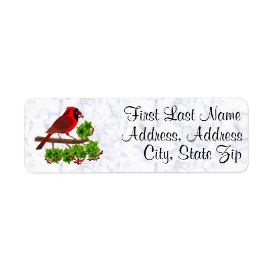 Cardinal W/ Holly Branch Custom Address Labels