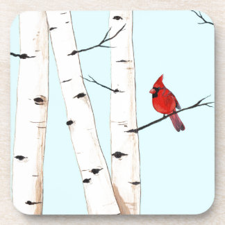 Cardinal with Birch Trees Beverage Coasters