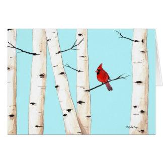 Cardinal with Birch Trees Card