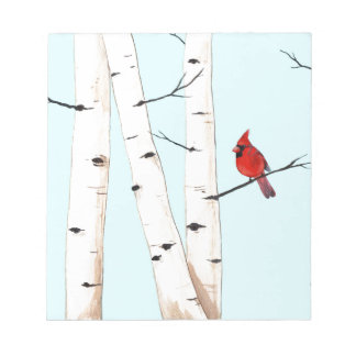 Cardinal with Birch Trees Notepad