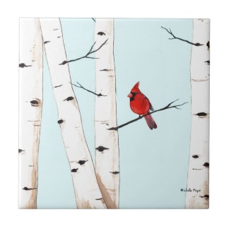 Cardinal with Birch Trees Tile