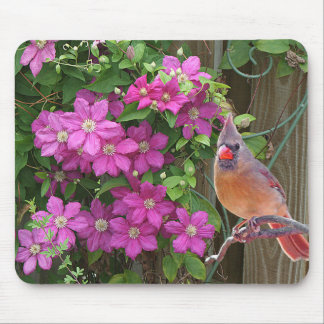 Cardinal with Flowers - Mouse Pad