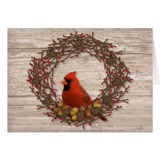 Cardinal Wreath Christmas Card