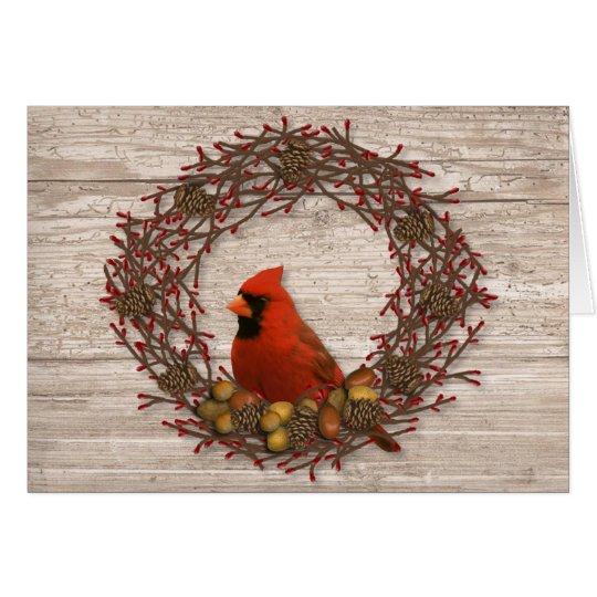 Cardinal Wreath Christmas Card
