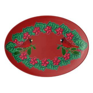 Cardinal Wreath Porcelain Serving Platter