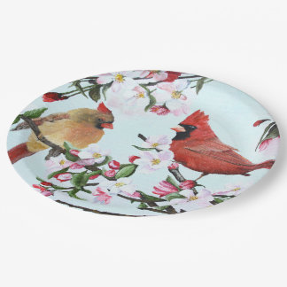 Cardinals and Apple Blossoms Paper Plate