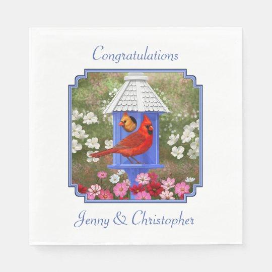 Cardinals and Blue Birdhouse Disposable Napkins