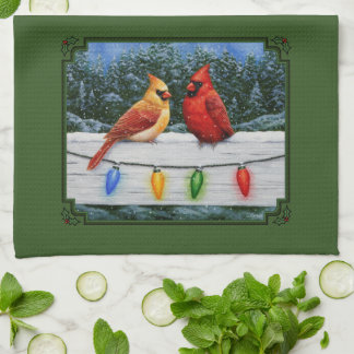 Cardinals and Christmas Lights Green Kitchen Towel