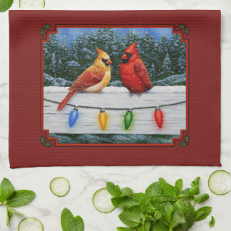 Cardinals and Christmas Lights Red Kitchen Towel