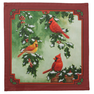 Cardinals and Christmas Lights Red Napkin