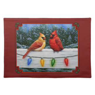 Cardinals and Christmas Lights Red Placemat