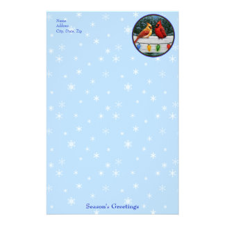 Cardinals and Christmas Lights Snowflakes Stationery