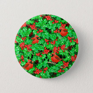 Cardinals and holly berry 2 inch round button