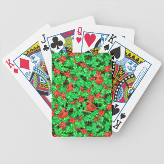 Cardinals and holly berry bicycle playing cards